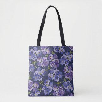 Navy & Purple Floral Pattern Watercolour Tote Bag