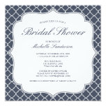 Navy Quatrefoil Bridal Shower 5.25x5.25 Square Paper Invitation Card