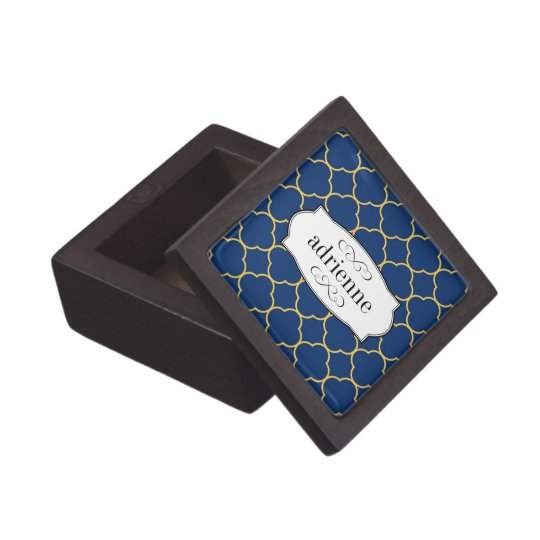 Navy quatrefoil clover leaf pattern personalized keepsake box