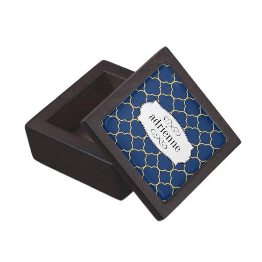 Navy quatrefoil clover leaf pattern personalized premium trinket box