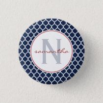 Navy Quatrefoil Monogram Button