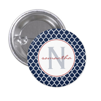 Navy Quatrefoil Monogram Button