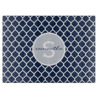 Navy Quatrefoil Monogram Cutting Board