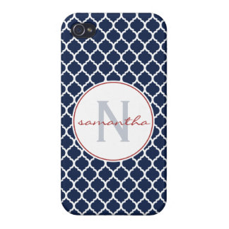 Navy Quatrefoil Monogram iPhone 4 Cases