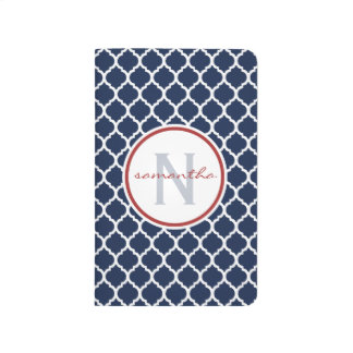 Navy Quatrefoil Monogram Journal