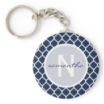 Navy Quatrefoil Monogram Keychain