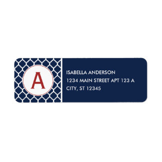 Navy Quatrefoil Monogram Label