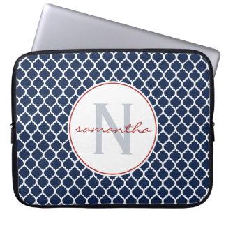 Navy Quatrefoil Monogram Laptop Sleeve