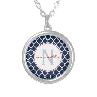 Navy Quatrefoil Monogram Custom Jewelry