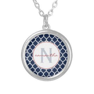 Navy Quatrefoil Monogram Silver Plated Necklace