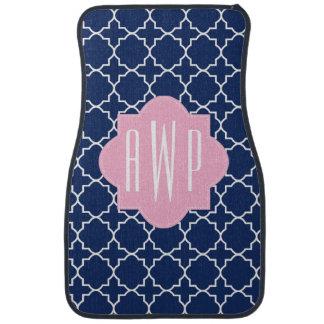 Navy Quatrefoil & Pink Monogram Floor Mat