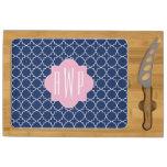 Navy Quatrefoil + Pink Monogram Rectangular Cheese Board