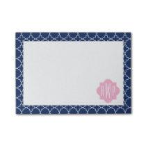 Navy Quatrefoil & Pink Monogram Post-it Notes