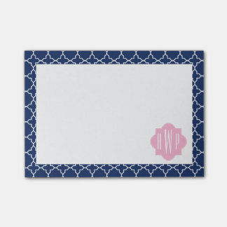 Navy Quatrefoil & Pink Monogram Post-it Notes