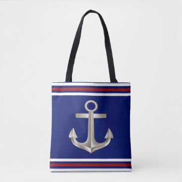Beach Themed Navy Red Anchor Tote Bag