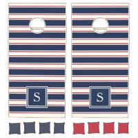 Navy, Red and Cream Nautical Stripe Monogram Cornhole Set