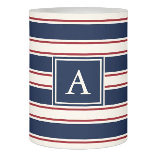Navy, Red and Cream Nautical Stripe Monogram Flameless Candle