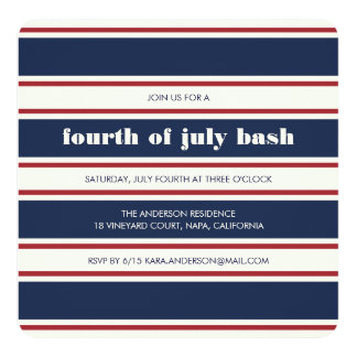 Navy, Red and Cream Stripe Fourth of July Party Card