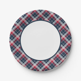 Navy, Red and Grey Sporty Plaid Paper Plates 7 Inch Paper Plate