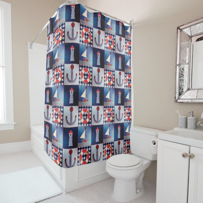 Navy Red And White Nautical Shower Curtain