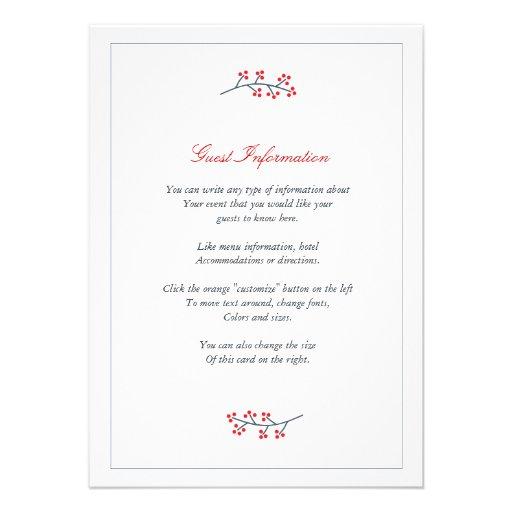 Navy & Red Floral Monogram Wedding Insert Card