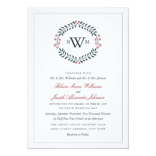 Navy Red Floral Monogram Wedding Invitation Zazzle