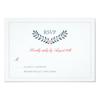 Navy & Red Floral Monogram Wedding RSVP Invites