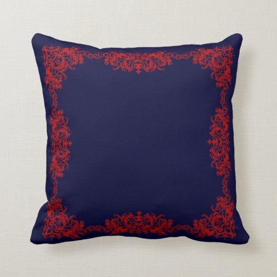 Navy Red Framed Throw Pillow