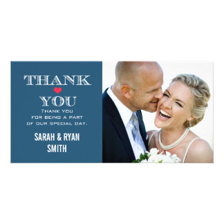 Navy Red Heart Wedding Photo Thank You Cards Customized Photo Card