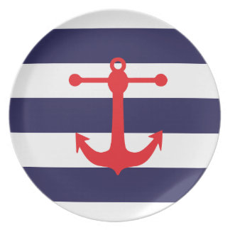 Navy & Red Nautical Pattern Dinner Plate