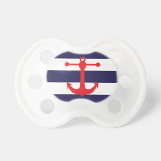 Navy & Red Nautical Pattern Pacifier