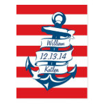 Navy/Red Nautical Theme Save the Date Postcard