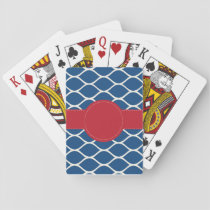Navy Red Personalized Playing Cards