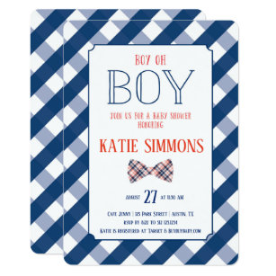 Navy Red Plaid Bow Tie Baby Boy Shower Invitation