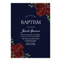 Navy & Red Rose Baptism Boy or Girl Invite