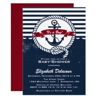 Navy U0026amp; Red Rustic Nautical Baby Shower Invitation