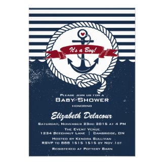 Navy Red Rustic Nautical Baby Shower Invitation
