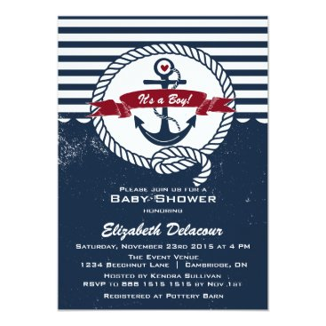 Beach Themed Navy & Red Rustic Nautical Baby Shower Invitation