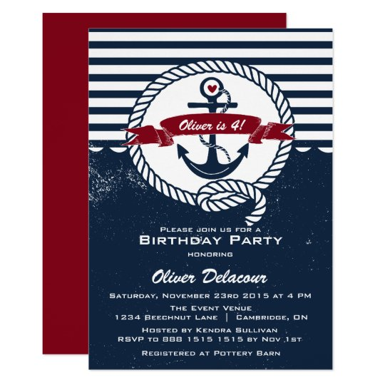 navy red rustic nautical kids birthday invitation zazzle com