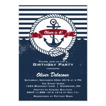 Beach Themed Navy Red Rustic Nautical Kids Birthday Invitation