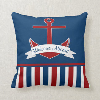 Navy Red White Nautical Stripes Red Anchor Banner Throw Pillow