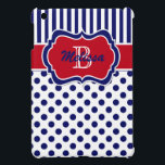 "Navy, Red, White Striped Polka Dot iPad Mini Case<br><div class=""desc"">This modern and trendy monogrammed navy blue,  red,  and white stripes with polka dots pattern iPad Mini case has template boxes for you to add your name,  monogram,  initials,  logo. or other text to. If you require any assistance,  email niteowlstudio@gmail.com.</div>"