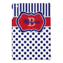 Navy, Red, White Striped Polka Dot iPad Mini Case