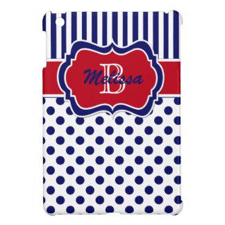 Navy, Red, White Striped Polka Dot iPad Mini Case