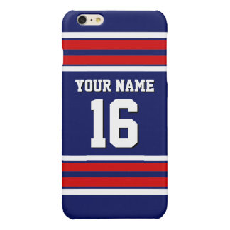 Navy Red White Team Jersey Custom Number Name Glossy iPhone 6 Plus Case