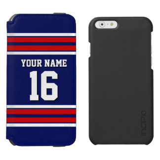 Navy Red White Team Jersey Custom Number Name iPhone 6/6s Wallet Case