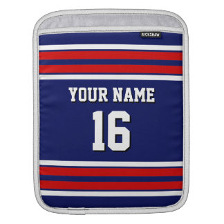 Navy Red White Team Jersey Custom Number Name Sleeve For iPads