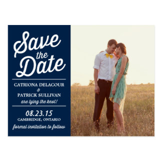 Navy Retro Script Photo Save the Date Postcard