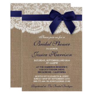 Navy Ribbon On Burlap & Lace Bridal Shower Card
