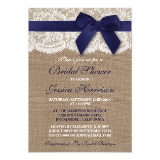 Navy Ribbon On Burlap & Lace Bridal Shower Card